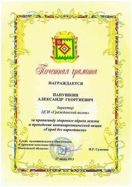 За проведение антинаркотической акции Город без наркотиков Ногинск